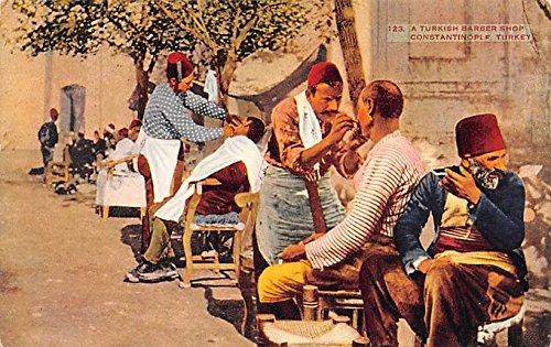 Turkish Barber Shop Constantinople Turkey - Postcard Barber