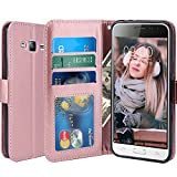 J3 Case, Express Prime Case, Amp Prime Case, LK Luxury PU Leather Wallet Case Flip Cover with Card Slots & Stand For Samsung Galaxy J3 / Express Prime / Amp Prime, ROSE GOLD