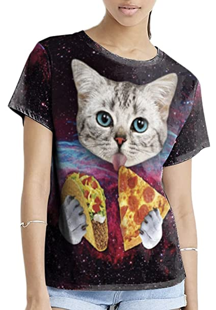8956c648 QZUnique Women's Summer Fashion Cat Digital Printed Round Collar T-Shirt ...
