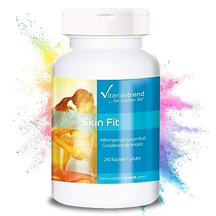 Skin Fit – 240 cápsulas para ¡4 MESES! – cápsulas contra la celulitis – veganas – con vitamina C – anticelulítico vegano