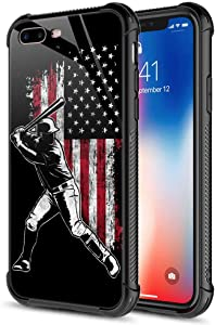 iPhone 8 Plus Case, American Flag Baseball Batter 9H Tempered Glass iPhone 7 Plus Cases [Anti-Scratch] Fashion Cute Pattern Design Cover Case for iPhone 7 Plus/8 Plus 5.5-inch American Flag