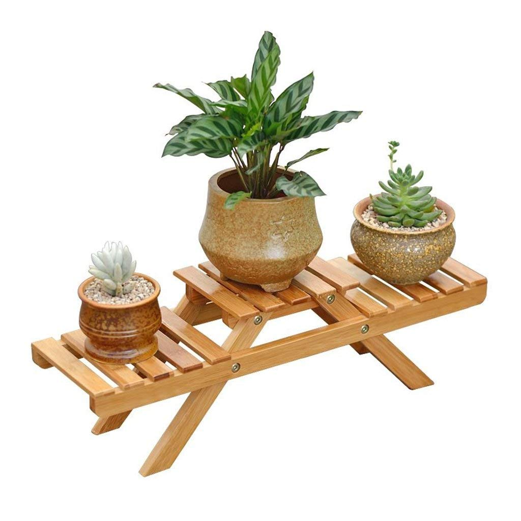 Natural Plant stand Desktop Small Flower Stand Solid Wood 2 Layers Balcony Multi Layer Shekel Potted Plant Display Stand Rack Shelf Bamboo Bedroom Indoor Outdoor (Size  L 52 Cm X W 15 Cm X H 16 Cm) Flower pot