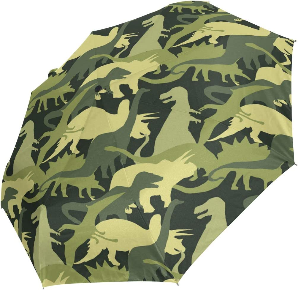 Hand Painted Cartoon Style Automatic Folding Travel Umbrella Windproof Auto Open//Close for One Handed Operation 2021454 Mr.Lucien Cute Dinosaur Animal Grassland Compact Umbrella