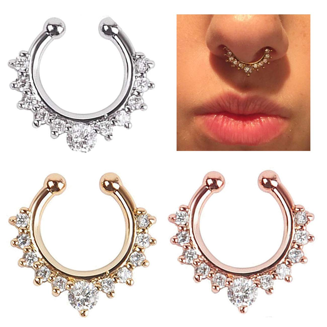 5abd7918ee6 Buy AMEJEWE Fake Nose Ring, CZ Crystal Non Piercing Septum Nose Clip ...