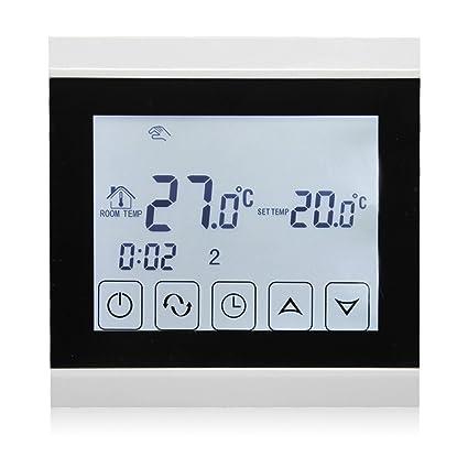 Termostato Beok programable con pantalla táctil, para suelo radiante, negro, 230.00V