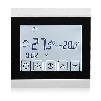 Termostato Beok programable con pantalla táctil, para suelo radiante, negro, 230.00V: Amazon.es: Bricolaje y herramientas