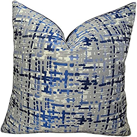 Plutus Brands Plutus Abstract Plaid Handmade Throw Pillow 20 X 36 King Navy Blue Gray
