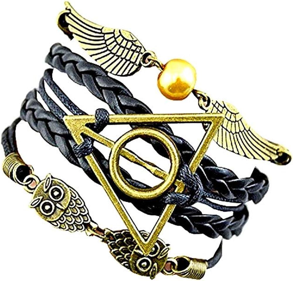 Mujer Pulseras, pulsera de cuero de PU con alas y búhos de snitch dorados, pulsera tejida, para hombres y mujeres, pulsera de reliquias de la muerte, regalo para amantes: Amazon.es: Joyería
