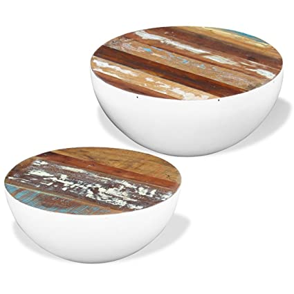 Superior White Solid Reclaimed Wood Storage Coffee Table Round Bowl Shape Home Decor,  Set Of 2