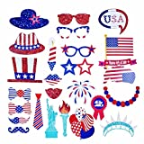 EBTOYS 4th of July Photo Booth Props 26-Kit Patriotic Props on a Stick for ...