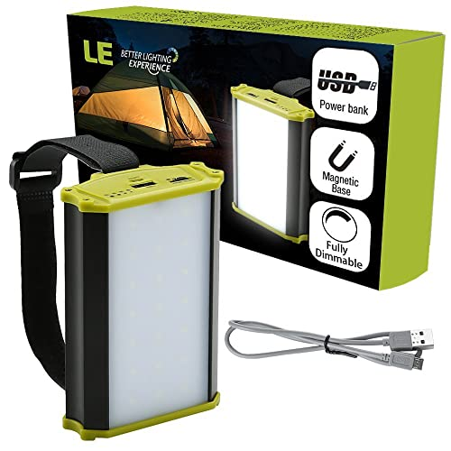 LE Lighting EVER Lanterne de Camping LED Rechargeable, 330lm, Fonction Batterie Externe 4400mAh, Intensité de Lumière Réglable, pour Bivouac Tente Maison Camping Chasse Pêche Lampe de Secours