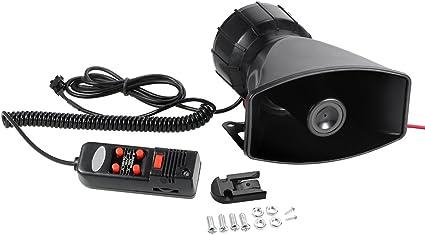 KKmoon 12V 60W Bocina 5 Sonido Alarma de Coche 300dB Sirena de Incendio Policía PA Altavoz Sistema de MIC: Amazon.es: Coche y moto