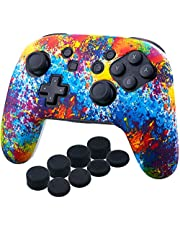 YoRHa Studded Silicone Transfer Print Cover Skin Case ONLY for Nitendo Official Switch Pro Controller x 1(Spashing Paint) with Pro Thumb Grips x 8