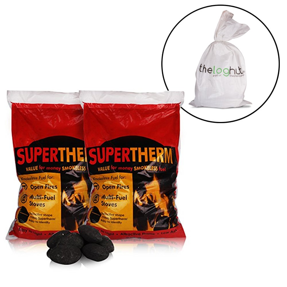 20kg of Supertherm Smokeless Coal - Large, Long Lasting Briquettes - Comes with Woven Sack. TheChemicalHut