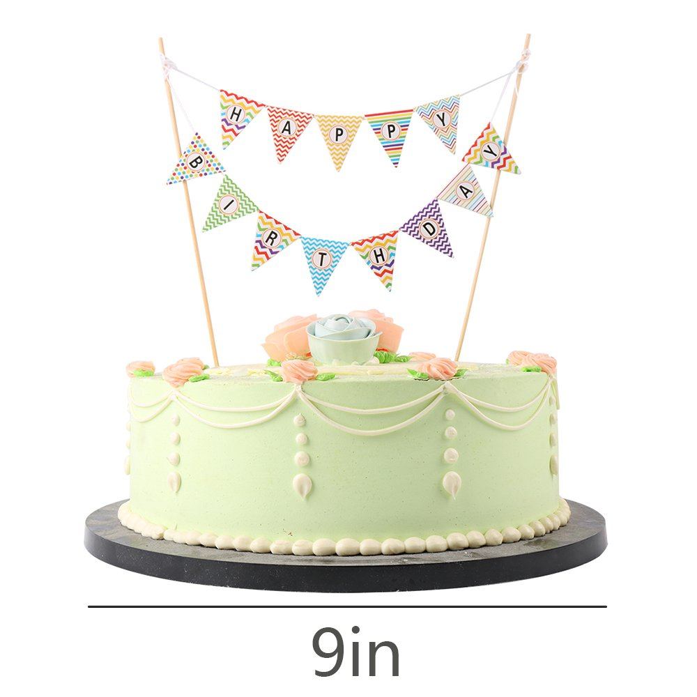 Amazon LVEUD Mini Happy Birthday Cake Topper Banner