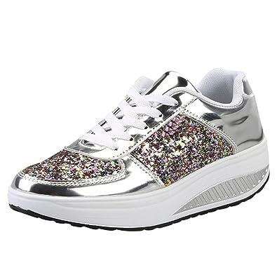 BYSTE Donna, Nuovo Sneakers con Zeppa Paillettes Agitare Scarpe Moda Ragazze Scarpe Sportive, Scarpe da Corsa, Assorbimento degli Urti Scarpe da