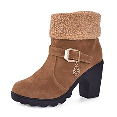 BAINASIQI Ladies Womens Suede Winter Ankle Boots Stylish Warm Plush Boots Plateau Zip Snow Boots Size 38  B076KGZK8Y