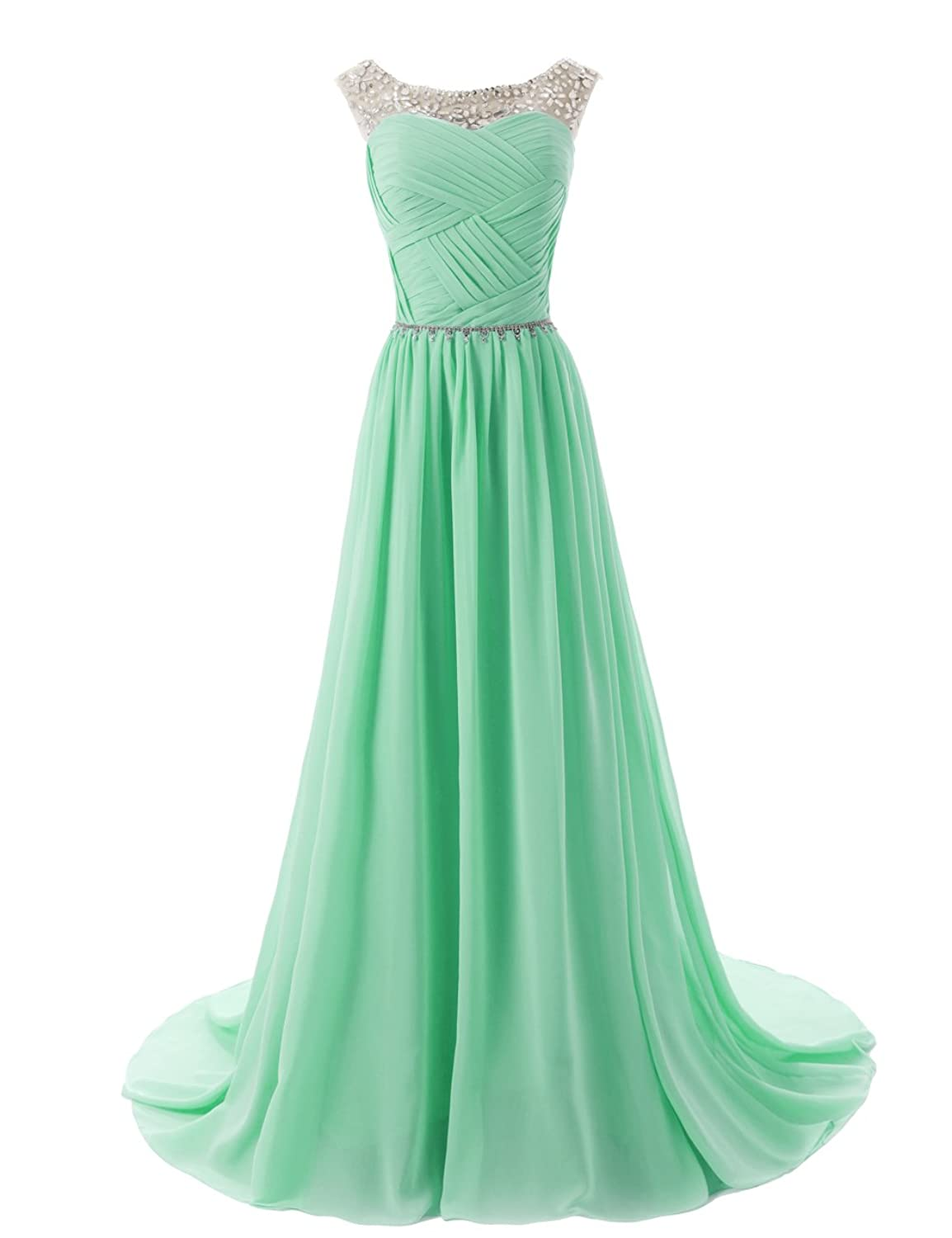Amazon.com: Dressystar Beaded Straps Bridesmaid Prom Dresses with ...
