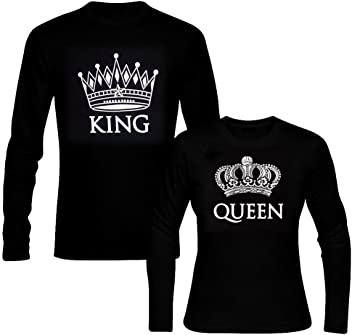 picontshirt Long Sleeve King and Queen Black Couple T-Shirts