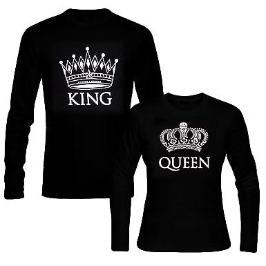 6dfa9ff98d6 picontshirt King   Queen Long Sleeve Black Couple T-Shirts Men XL Women XS