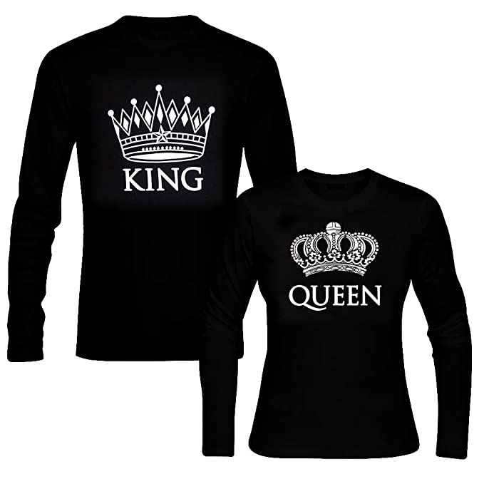 ab2b07061 picontshirt King & Queen Long Sleeve Black Couple T-Shirts Men XXL/Women XS