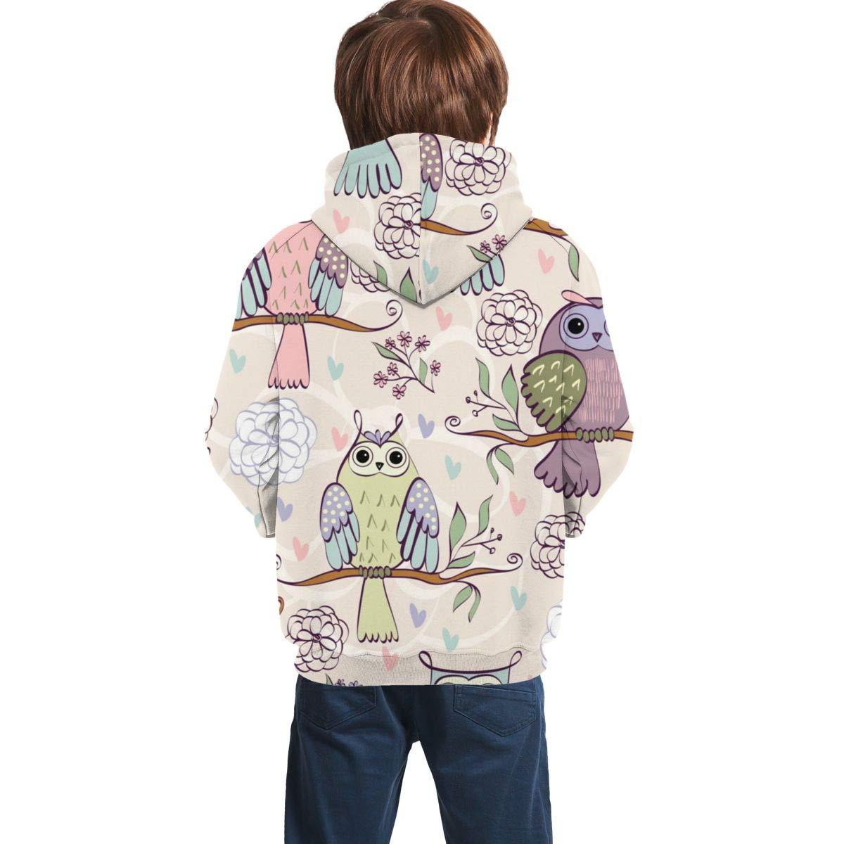 Youth 3D Print Owl On A Branch Hooded Sweatshirt Kids