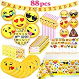 Melonboat Emoji Party Supplies 88ct Birthday Decorations Kit, Emoji Cards, Foil Gold Balloons, Tablecloth, Cupcake Toppers, Plates, Straws, Napkins, Invitation Cards, Happy Birthday Banners, Bulk Pack