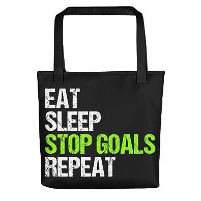 9f578a335b38d Amazon.com: Black Handbags Tote Bags Eat Sleep Stop Goal Repeat ...