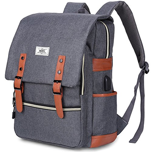 Vintage Laptop Backpack for Women Men,School College Backpack with USB Charging Port Fashion Backpack Fits 15 inch Notebook Grey