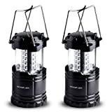 Amazon Price History for:Divine LEDs Bright 2 Pack Portable Outdoor LED Camping Lantern, Black, Collapsbile