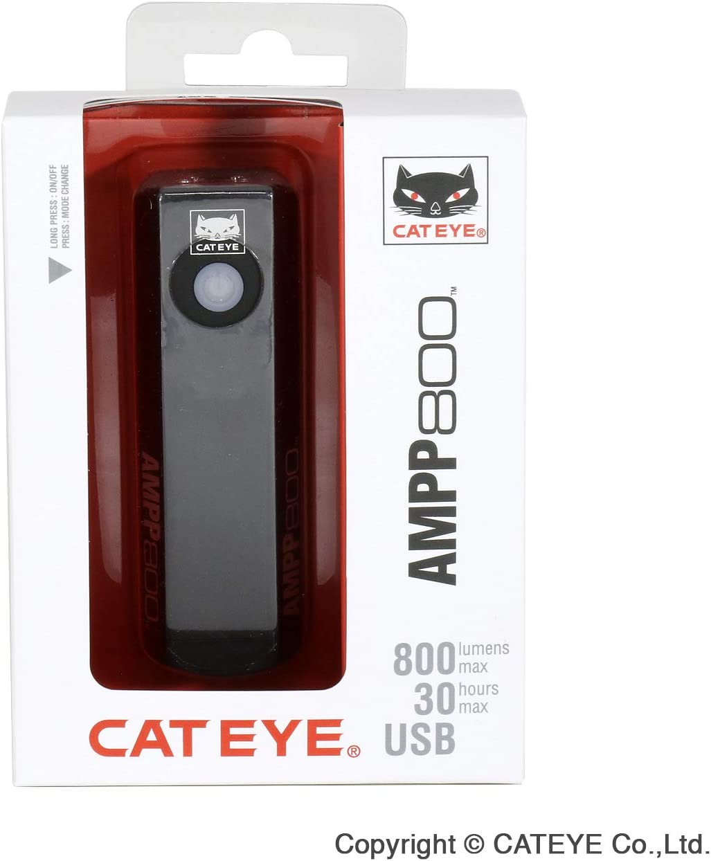 One Size CatEye Unisexs Ampp 800 Front Bicycle Light Black