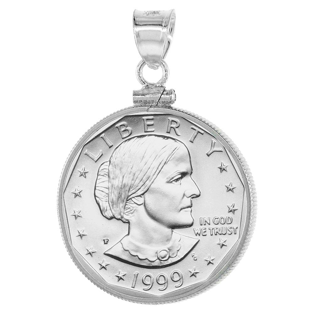 Sterling Silver Susan B. Anthony Bezel Sacagawea Screw Top Coin Edge 26 mm Coins 1979-Present