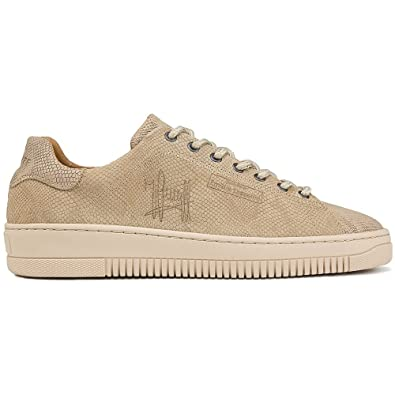 Cruyff Classics Joan Lace Up Snakeskin Nude Leather Trainer