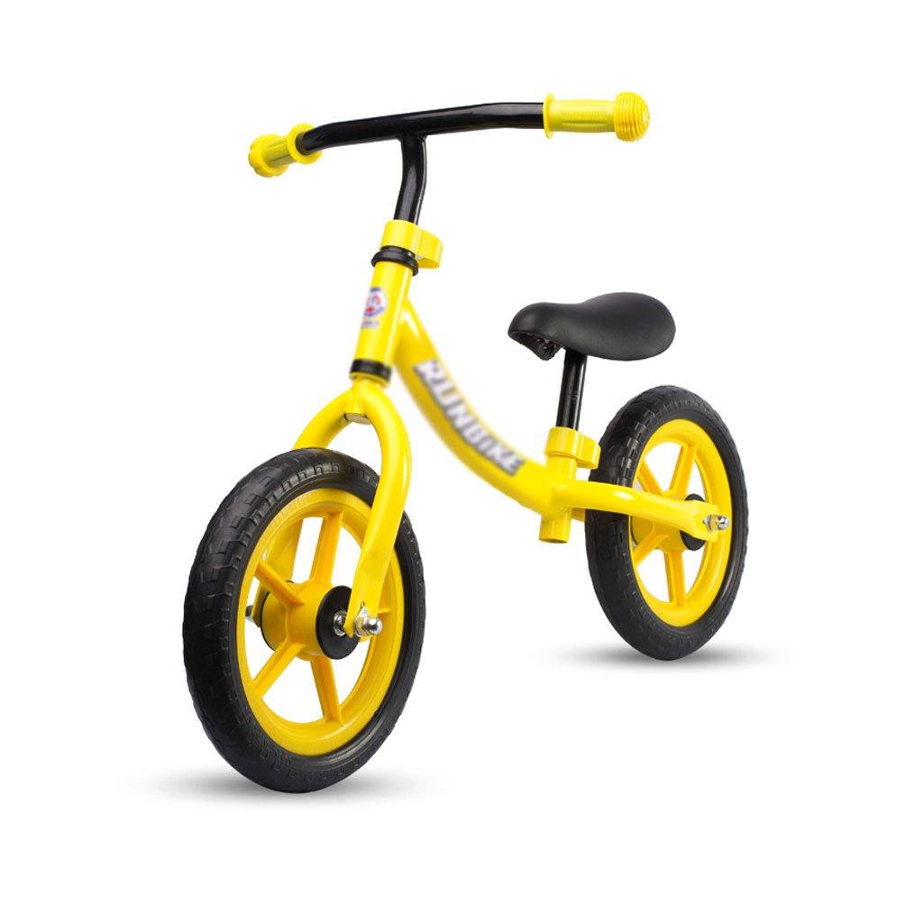 ベビースクーターペダルバランスなし車の子供スクーターペダルなし子供スクーターベビースクーター2ラウンドイエローインフレータブルソリッドタイヤ1-3-6歳 B07F35W448