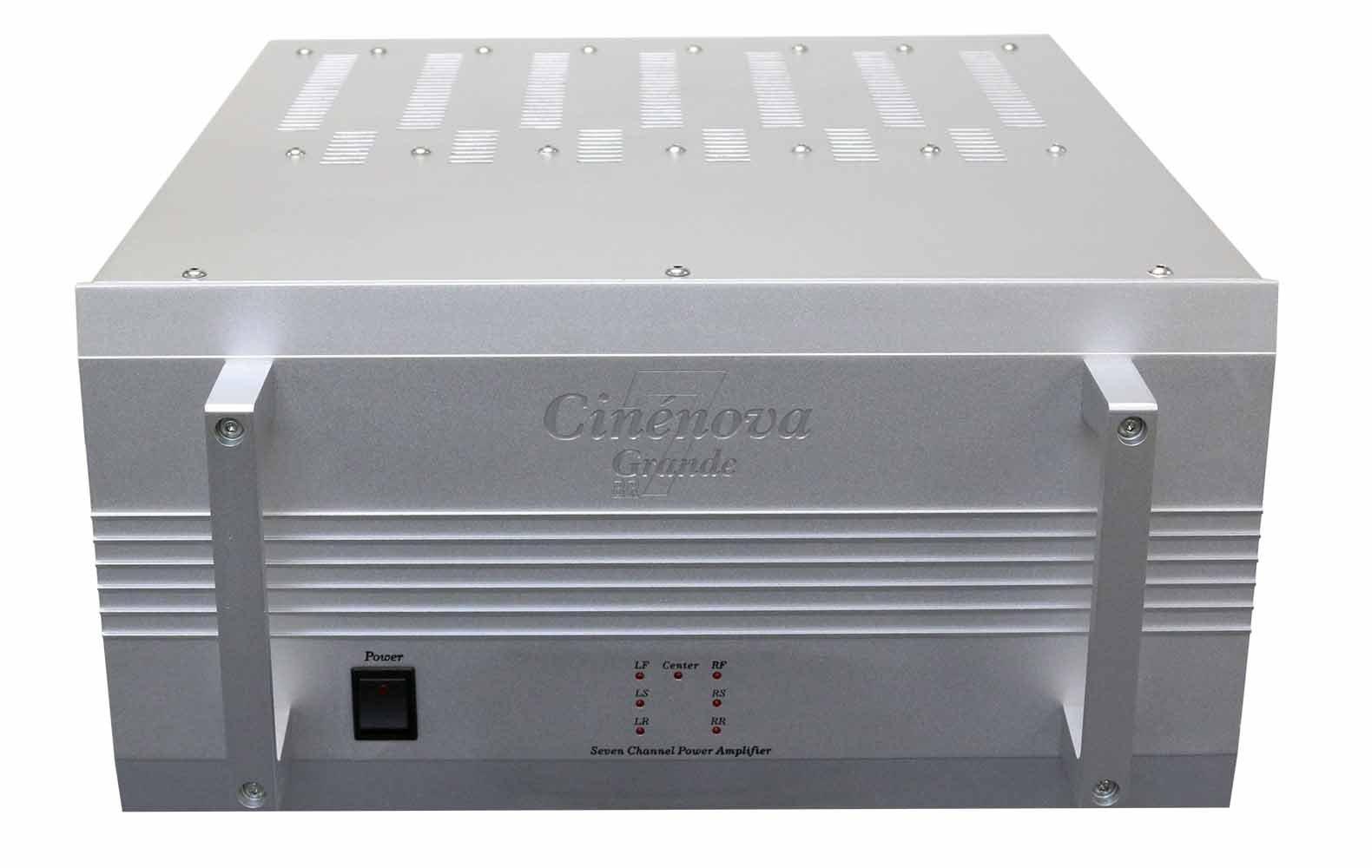 Earthquake Cinenova Grande 7BRS 7 x 300 RMS at 8 Ohms Bridgeable Audiophile 7.1 Home Theater Amplifier XLR Inputs 3 x 1400 RMS + 1 x 610 RMS at 4 Ohms SILVER by Earthquake Sound