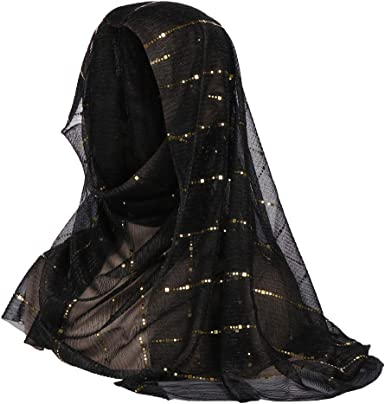 Large Black Pearl Bead Crinkle Scarf Plain Shawl Ruffle Chiffon Soft Evening