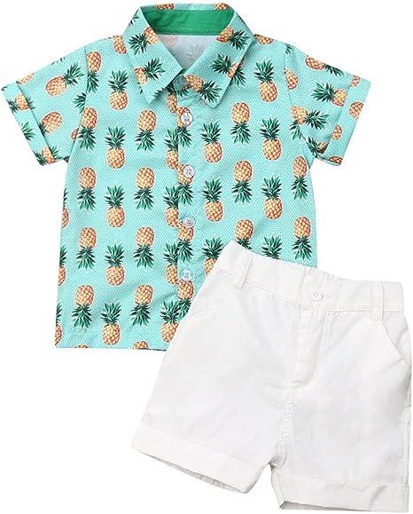 CIPOGL Conjunto de Ropa para bebé de 1 a 6 años de Edad con flamencos y piñas, Camisa y Pantalones Cortos Ananas 5-6 Años: Amazon.es: Ropa y accesorios