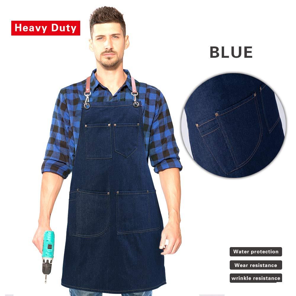 UNISI Denim Work Aprons Jean Bib Chef With Pockets, Cross Back Leather Straps Durable Shop Tools Apron For Women & Men, Quick Release Buckle Shoulder Straps Adjustable M to XXL (Tidal Blue)
