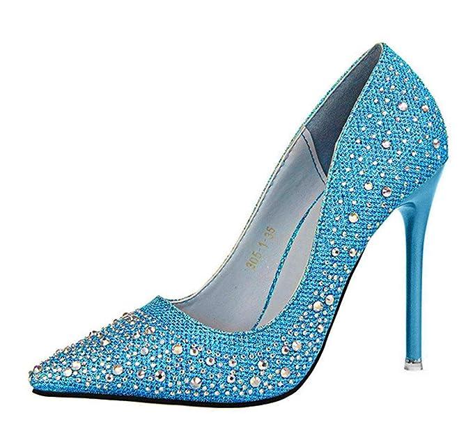 e9298f5e Minetom Mujer Primavera Dulce Boda Zapatos de Tacón Elegante Brillante  Rhinestone Zapatos Tacón Alto Zapatos Pumps Stiletto: Amazon.es: Ropa y  accesorios