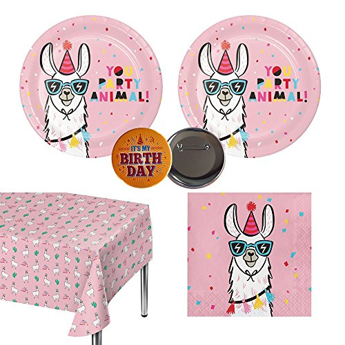 Llama Party Pack for 20 guests - Plates, Napkins, Tablecover, Birthday Button for $<!--$29.87-->