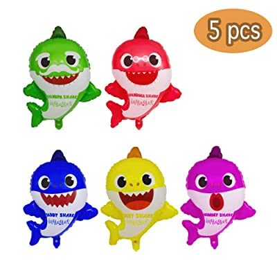 """Party Hive Large 22"""" Baby Cute Shark Family Helium Balloons for Kids Birthday Party Event Decoration (5pcs): Toys & Games"""