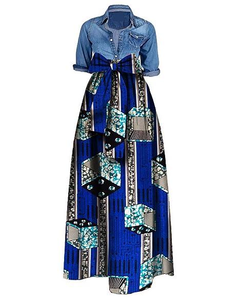 Bigyonger Women African Print Dashiki Skirt A Line High Waist Ball Gown  Plus Size Maxi Dress