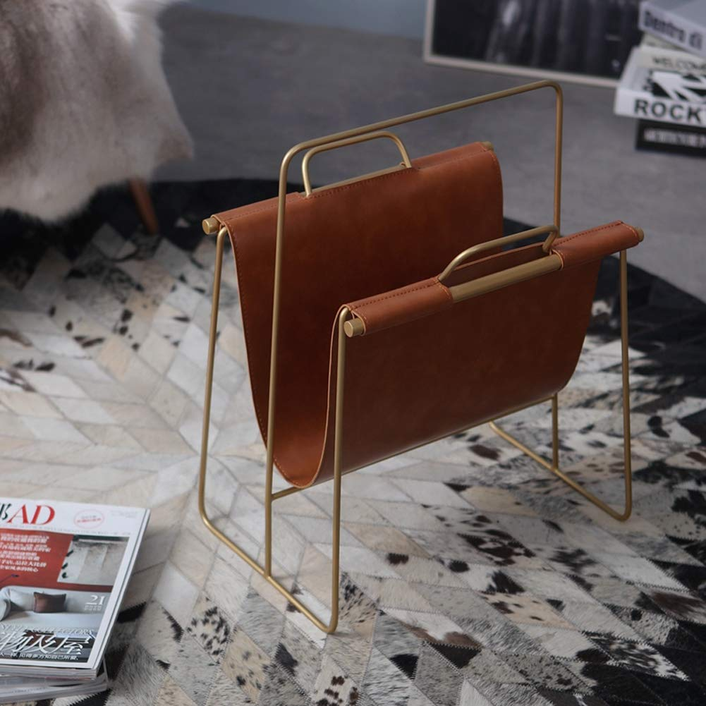 L&QQ Magazine Holder, Elegant PU Leather Magazine Organiser for Bathrooms or Offices - Suitable for Books, Tablets, and Newspapers,Brown by L&QQ (Image #2)