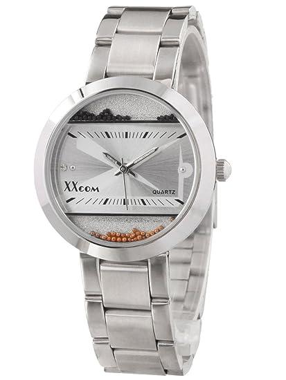Alienwork Reloj Unisex Relojes Mujer Hombre Acero Inoxidable Plata Analógicos Cuarzo Blanco Impermeable Elegante