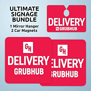 Grubhub Signage Bundle includes Car Mirror Hanger and 2 Magnets (9x9 inches) – Grubhub Signs for Car, Grubhub Driver Car Sign, Grubhub Magnetic Sign, Delivery Sign for Cars, Delivery Magnetic Sign