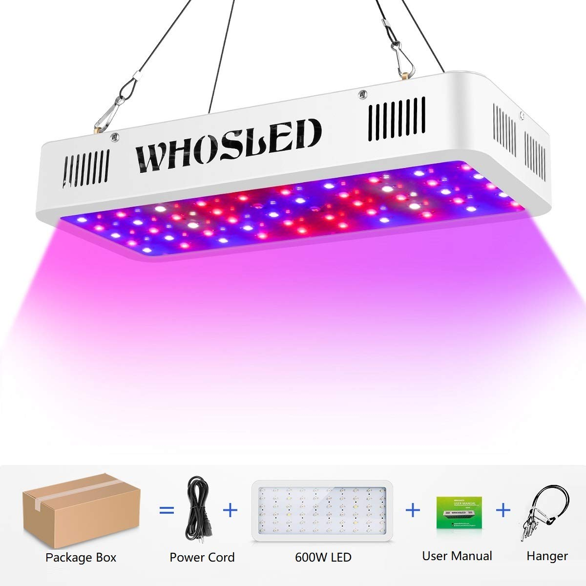 WHOSLED 600W LED Grow Light Full Spectrum Purely Handmade Grow Lamp with IR and UV for Hydroponic Indoor Plants Veg and Flower