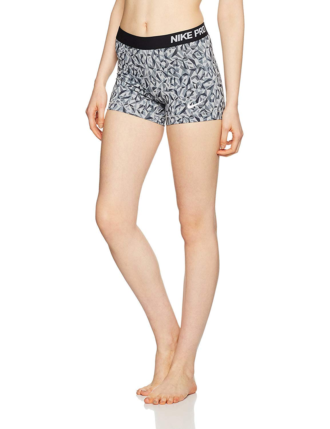 Nike Pro 3'' Cool Short Facet Women's Shorts (Wolf Grey/Black/White, X-Small)