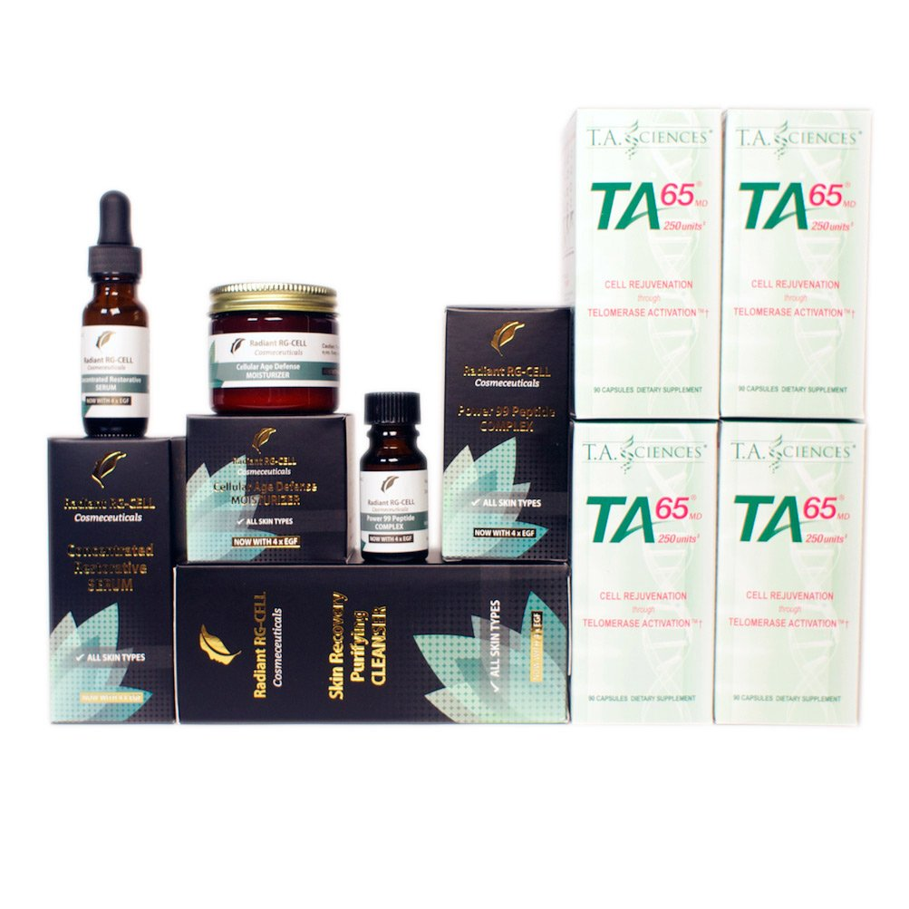 T.A. Sciences | TA-65 Supplement | 4x90 Capsules | 250 U | Free $389.00 Value | Rg-Cell Peptide Moisturizer+Serum+Peptide 99 Complex+Face Cleanser with EGF & AFA Algae