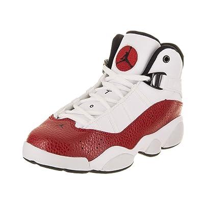 NIKE PS Boys' Jordan 6 Rings Basketball Shoes White/Black-Gym Red 1Y