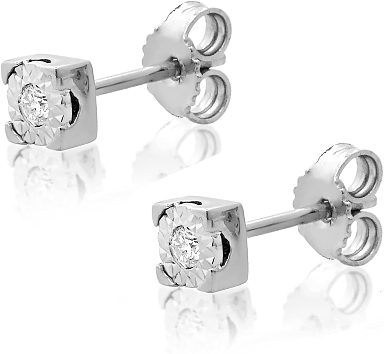 MILLE AMORI ∞ Pendientes Mujer Oro y Diamantes - Oro Blanco 9 Kt 375 ∞ Diamantes 0.02 Kt
